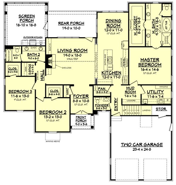 Farmhouse Floor Plan - Main Floor Plan Plan #1067-1
