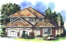 House Blueprint - European Exterior - Front Elevation Plan #18-244