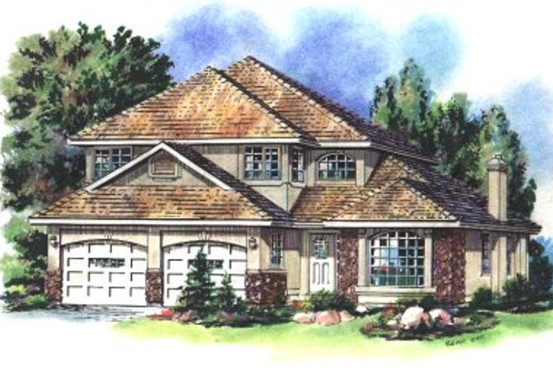 House Blueprint - European Exterior - Front Elevation Plan #18-244