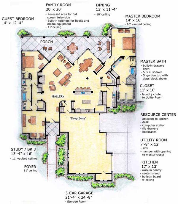 Mediterranean Floor Plan - Main Floor Plan Plan #410-3567