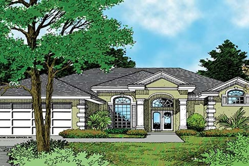 Mediterranean Exterior - Front Elevation Plan #417-700 - Houseplans.com