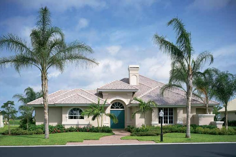 Mediterranean Style House Plan - 4 Beds 3.5 Baths 3792 Sq/Ft Plan #930-50 Exterior - Front Elevation