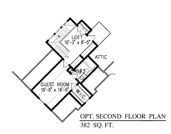 Craftsman Floor Plan - Upper Floor Plan Plan #54-415