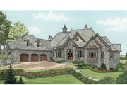 European Style House Plan - 4 Beds 4 Baths 6155 Sq/Ft Plan #929-895 Exterior - Front Elevation