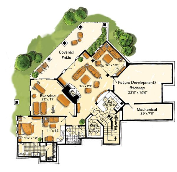 House Design - Craftsman Floor Plan - Lower Floor Plan #942-16