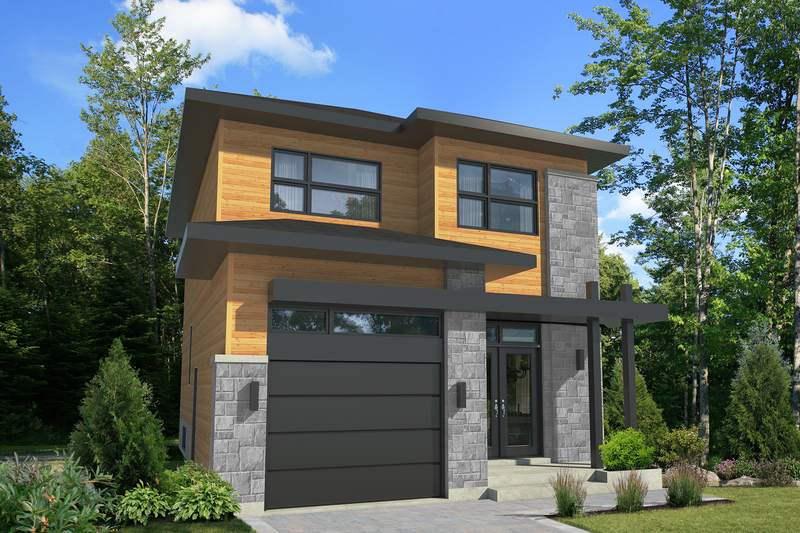 Contemporary Style House Plan - 3 Beds 1 Baths 1377 Sq/Ft Plan #25-4377