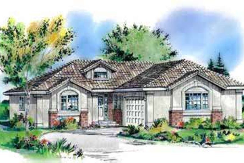 European Style House Plan - 3 Beds 2 Baths 1629 Sq/Ft Plan #18-340 Exterior - Front Elevation