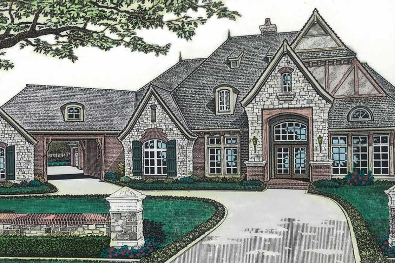 European Style House Plan - 5 Beds 4.5 Baths 5354 Sq/Ft Plan #310-349 Exterior - Front Elevation