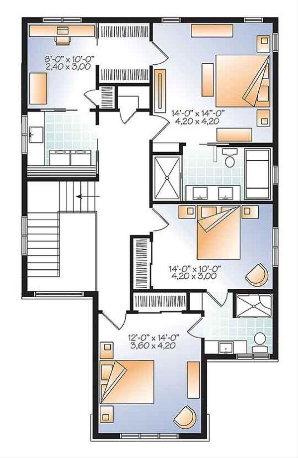 Contemporary Floor Plan - Upper Floor Plan Plan #23-2608