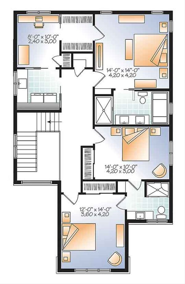 Contemporary Floor Plan - Upper Floor Plan #23-2608