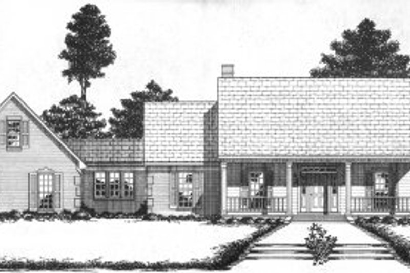 Southern Style House Plan - 4 Beds 2 Baths 2836 Sq/Ft Plan #36-301 Exterior - Front Elevation