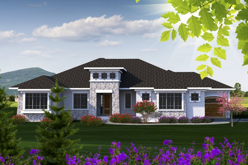 Ranch Style House Plan - 3 Beds 2.5 Baths 2507 Sq/Ft Plan #70-1223 Exterior - Front Elevation