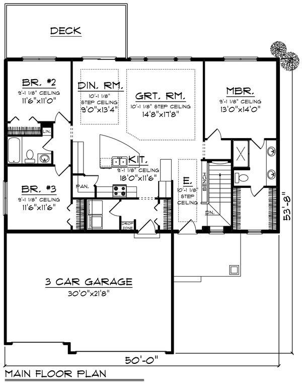 Ranch Floor Plan - Main Floor Plan #70-1414