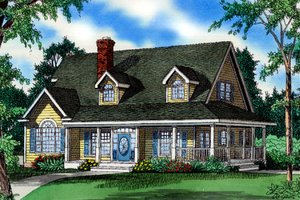 Cottage Exterior - Front Elevation Plan #405-216