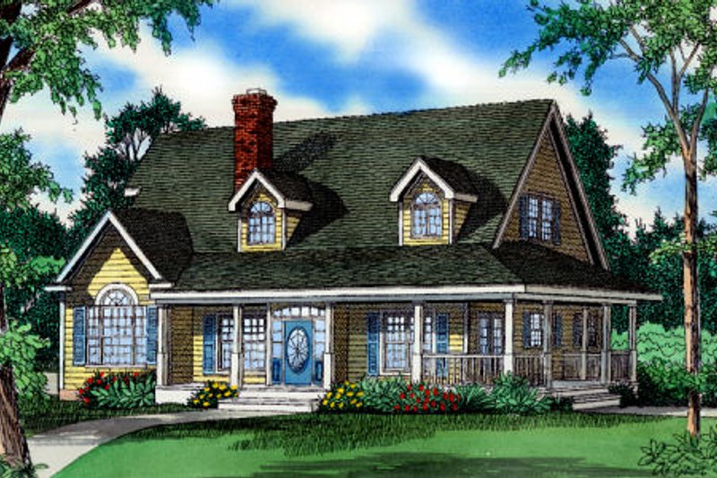 Dream House Plan - Cottage Exterior - Front Elevation Plan #405-216