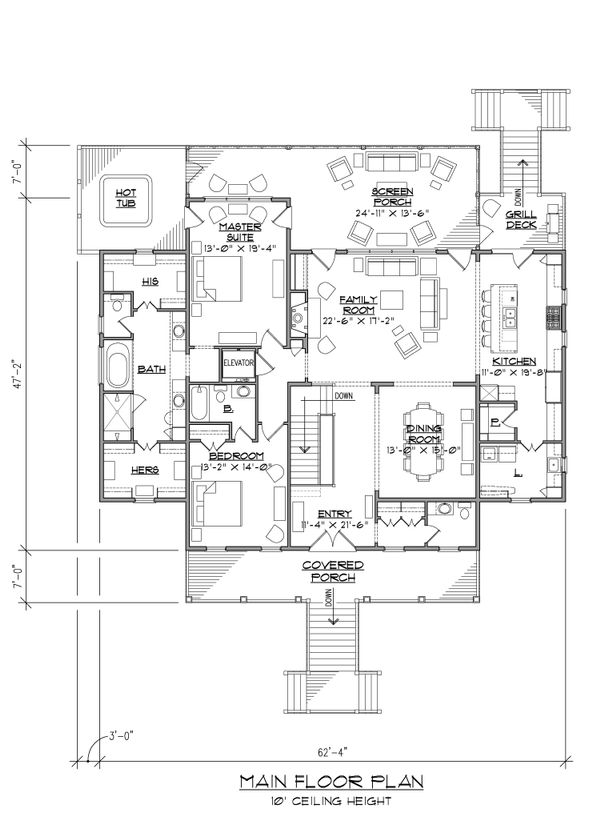 Country Floor Plan - Main Floor Plan Plan #1054-34