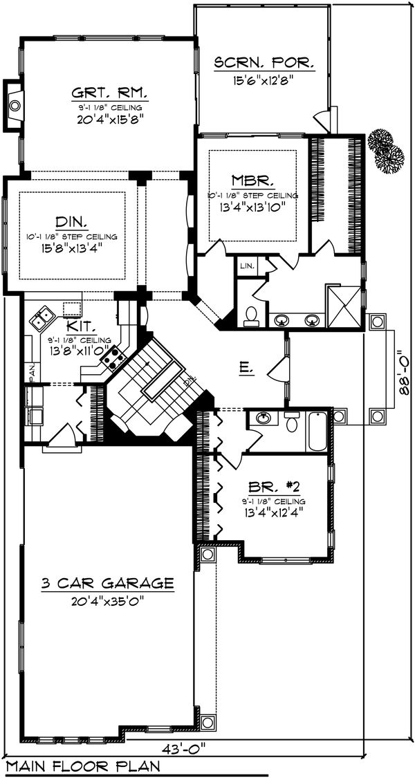 Ranch Floor Plan - Main Floor Plan Plan #70-1030