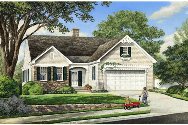 Traditional Style House Plan - 3 Beds 3 Baths 1684 Sq/Ft Plan #137-250 Exterior - Front Elevation