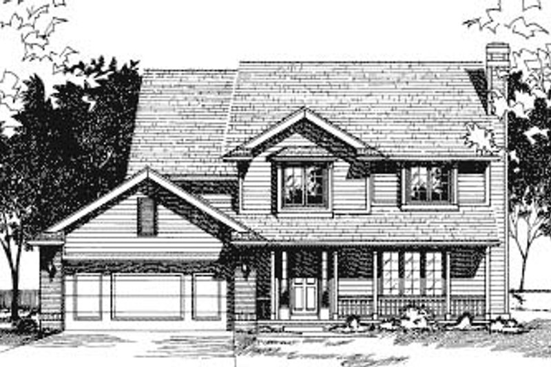 Traditional Style House Plan - 4 Beds 2.5 Baths 2099 Sq/Ft Plan #20-713 Exterior - Front Elevation