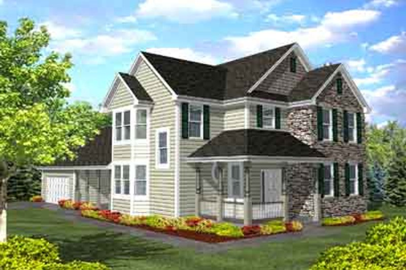 Colonial Style House Plan - 3 Beds 3 Baths 2207 Sq/Ft Plan #50-260 Exterior - Front Elevation