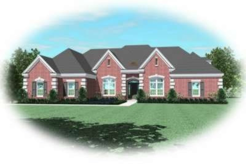 European Style House Plan - 3 Beds 3.5 Baths 3078 Sq/Ft Plan #81-1342 Exterior - Front Elevation