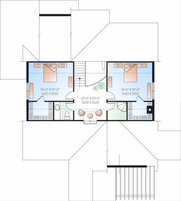 Traditional Floor Plan - Upper Floor Plan Plan #23-716