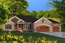 Craftsman Exterior - Front Elevation Plan #70-1195