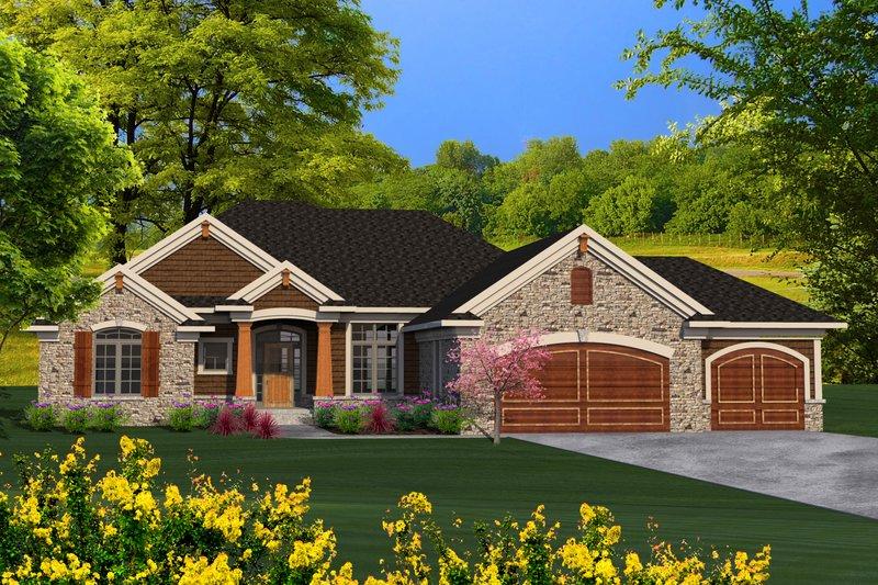 Craftsman Exterior - Front Elevation Plan #70-1195 - Houseplans.com