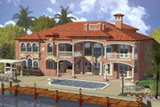 Mediterranean Style House Plan - 5 Beds 7.5 Baths 6679 Sq/Ft Plan #420-192 Exterior - Rear Elevation