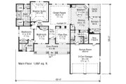 Craftsman Style House Plan - 3 Beds 2.5 Baths 1897 Sq/Ft Plan #51-515 Floor Plan - Main Floor Plan