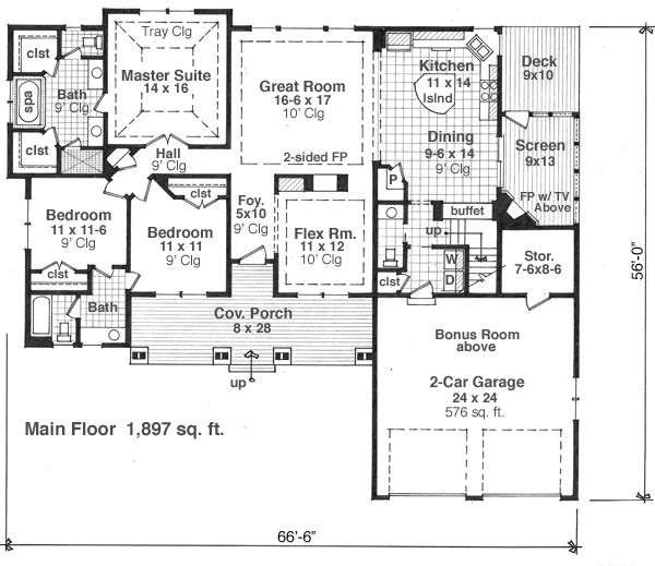 Craftsman Floor Plan - Main Floor Plan Plan #51-515