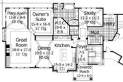 European Style House Plan - 4 Beds 3.5 Baths 4552 Sq/Ft Plan #51-547 Exterior - Front Elevation