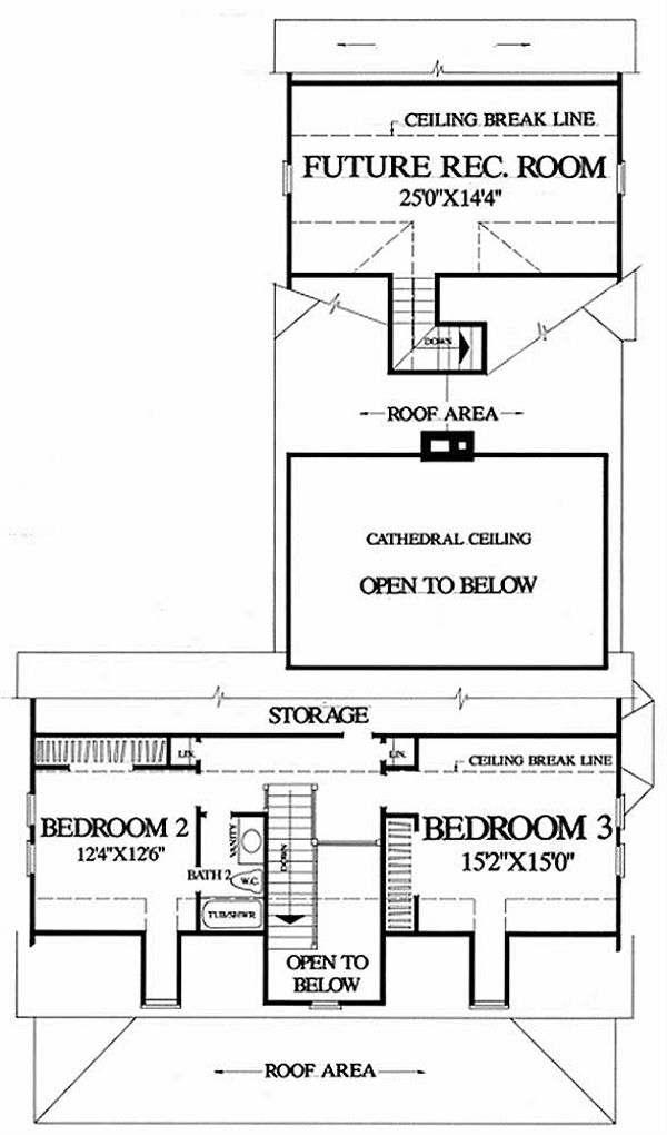 Southern Floor Plan - Upper Floor Plan Plan #137-208