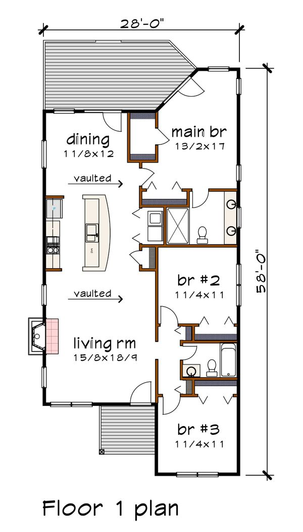 Modern Floor Plan - Main Floor Plan Plan #79-292