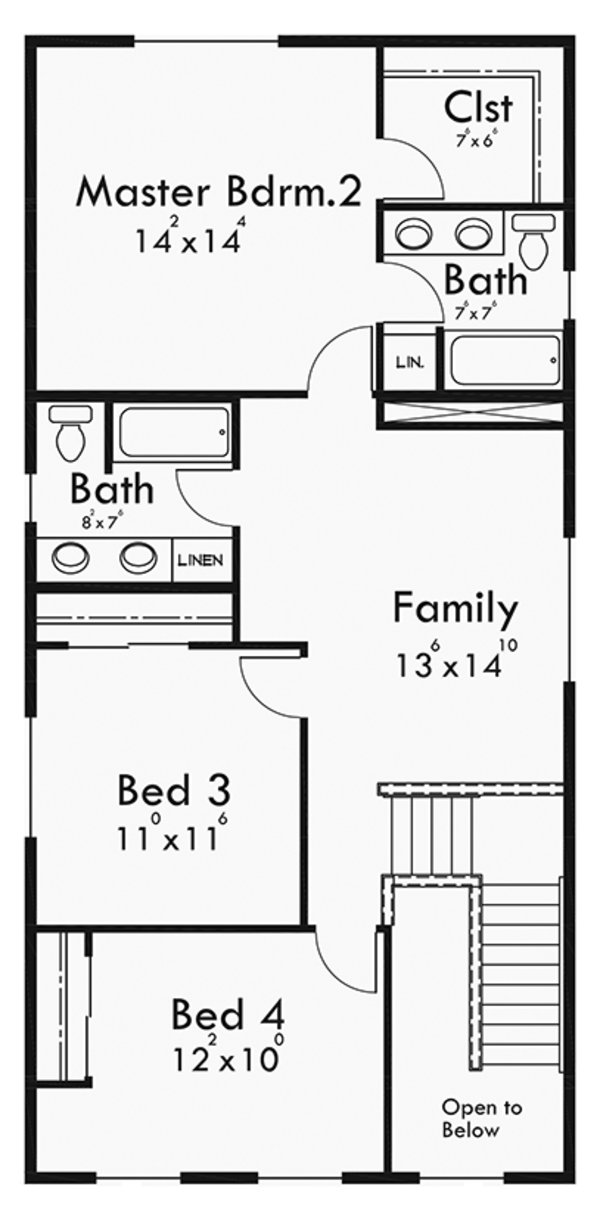 Craftsman Floor Plan - Upper Floor Plan Plan #303-473