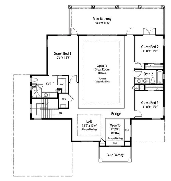 Mediterranean Floor Plan - Upper Floor Plan Plan #938-84