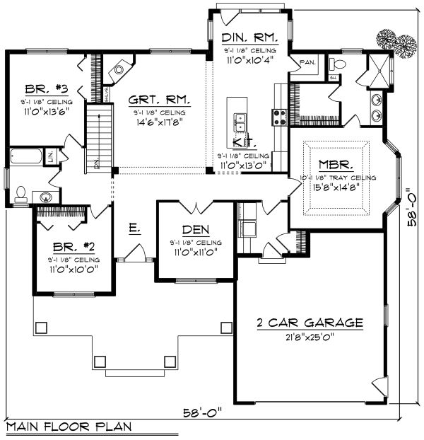 Craftsman Style House Plan - 3 Beds 2 Baths 1840 Sq/Ft Plan #70-1267 Floor Plan - Main Floor Plan