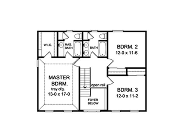 Classical Floor Plan - Upper Floor Plan Plan #1010-192
