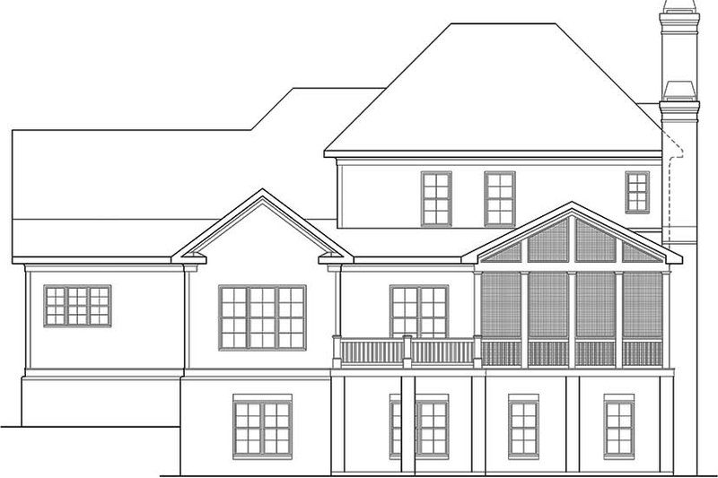 Traditional Exterior - Rear Elevation Plan #927-963 - Houseplans.com