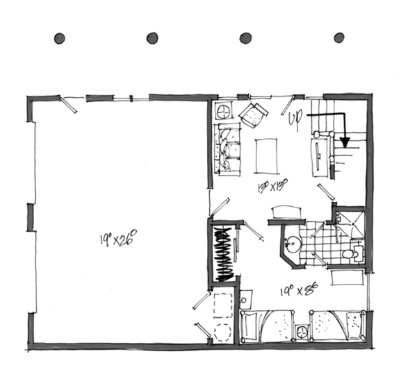 Log Floor Plan - Lower Floor Plan Plan #942-23