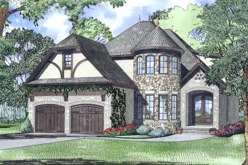 European Style House Plan - 3 Beds 3 Baths 2744 Sq/Ft Plan #17-2547 Exterior - Front Elevation