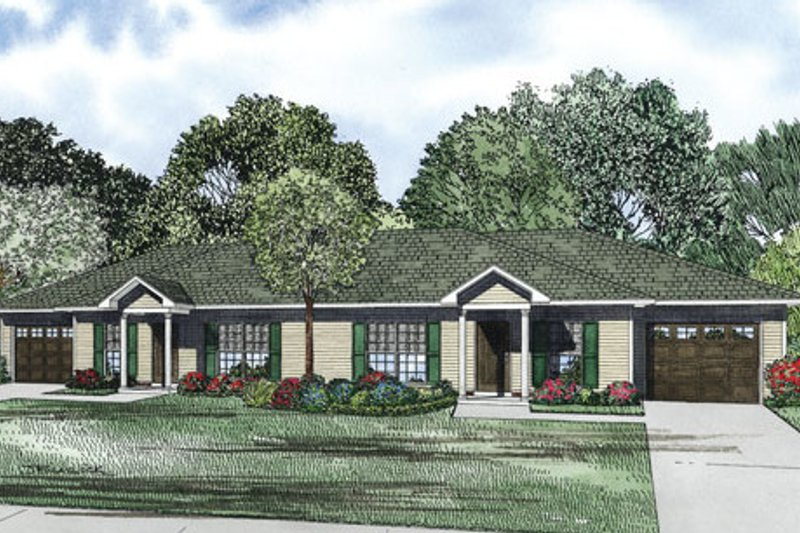 Traditional Style House Plan - 2 Beds 1 Baths 852 Sq/Ft Plan #17-2404 Exterior - Front Elevation