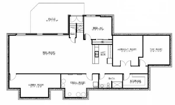 European Floor Plan - Lower Floor Plan Plan #1064-1