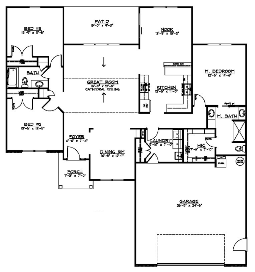 Ranch style house plan 3 beds 2 baths 1904 sq ft plan for Floorplans com