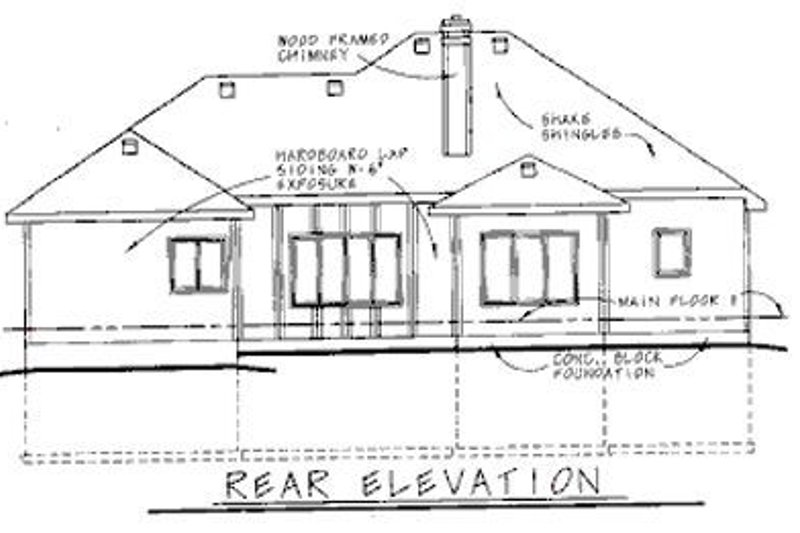 Traditional Exterior - Rear Elevation Plan #20-621 - Houseplans.com