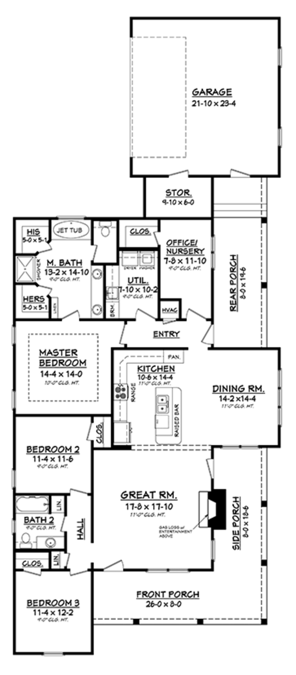 Ranch style house plan 3 beds 2 baths 1900 sq ft plan for Duplex house plans for 2000 sq ft