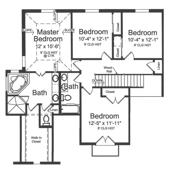 European Floor Plan - Upper Floor Plan Plan #46-849