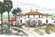 Mediterranean Style House Plan - 4 Beds 4.5 Baths 4638 Sq/Ft Plan #76-114 Exterior - Front Elevation