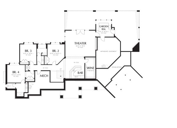 Craftsman Floor Plan - Lower Floor Plan Plan #48-607