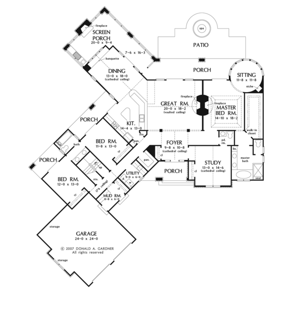 European Style House Plan - 3 Beds 2.5 Baths 2817 Sq/Ft Plan #929-903 Floor Plan - Main Floor Plan